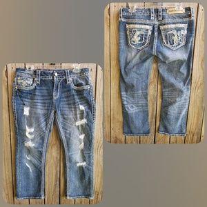 Rock Revival Distressed Nancy Cropped Jeans Sz 30